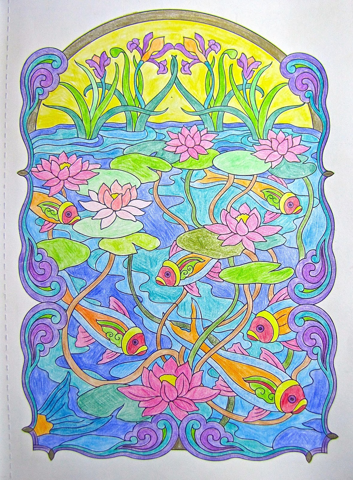 A Page I Colored From Creative Haven Art Nouveau Animal Designs Coloring Book