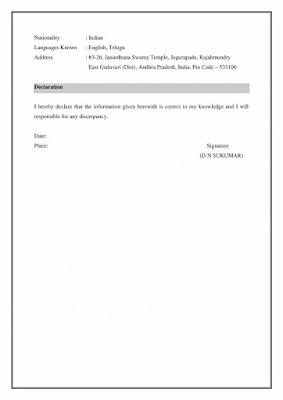 MBA Freshers Resume 3