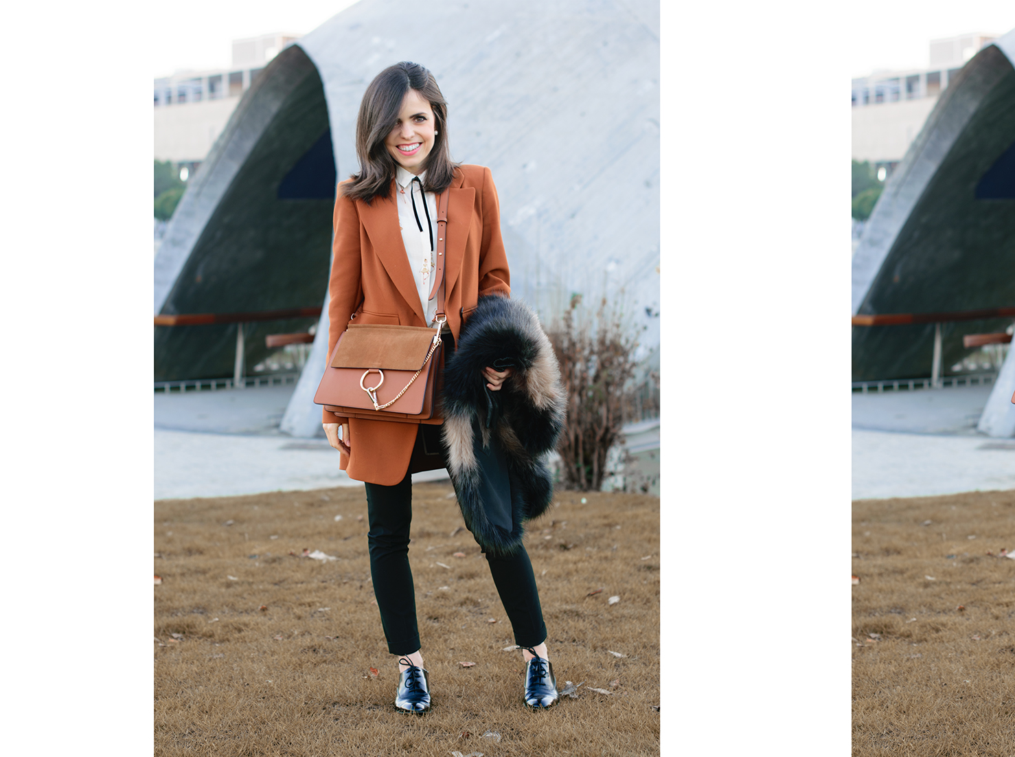 Working look de Zara con bolso Chloe