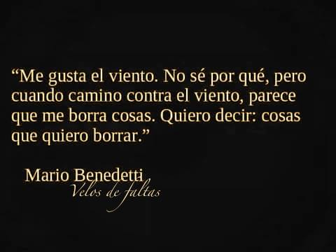 """""""Me gusta el viento. No sé por qué, pero cuando camino contra el viento, parece que me borra cosas. Quiero decir: cosas que quiero borrar."""" Mario Benedetti - Frases"""