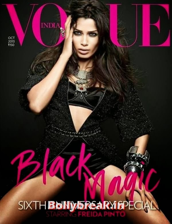 Freida Pinto On cover of Vogue India  Black Magic, Freida Pinto Vogue India Magazine Scans - Black Magic