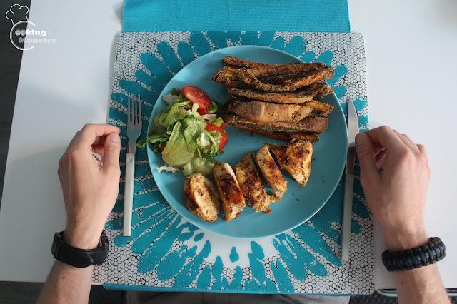 Grillowany kurczak, frytki z batatów