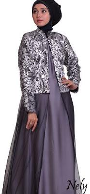 Model Gamis Batik Kombinasi Blazer hijab
