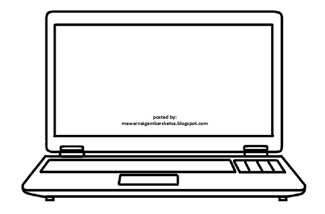 Mewarnai Gambar Mewarnai Gambar Sketsa Laptop Komputer 2