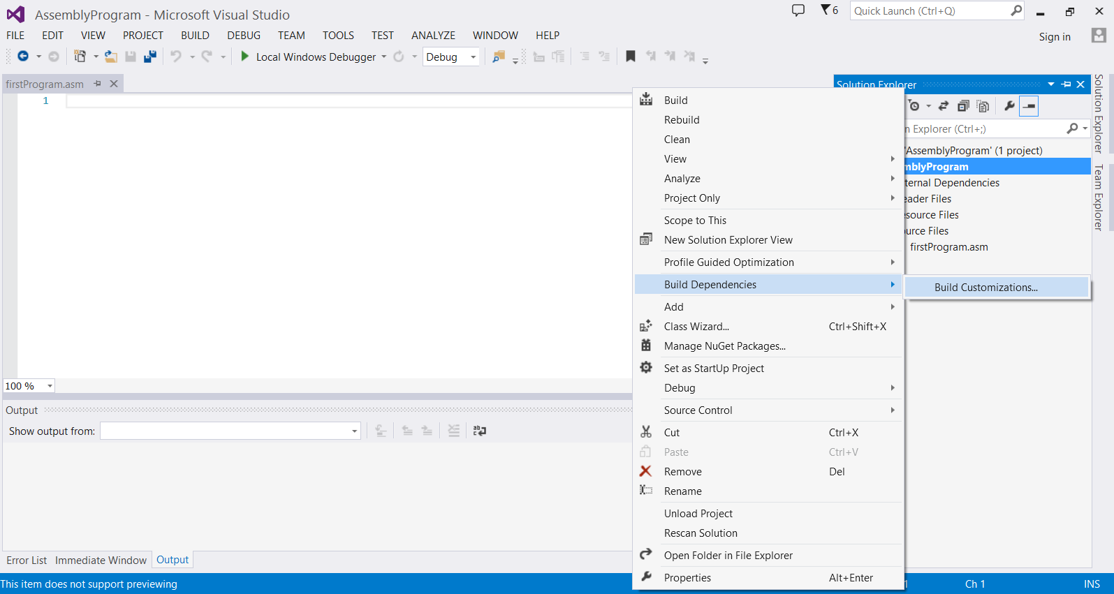 Run your first program in Assembly Language using Visual Studio