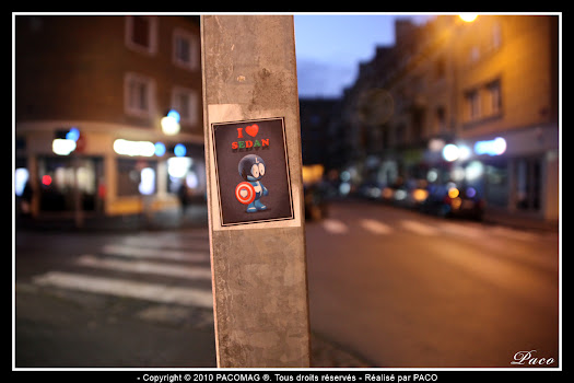 Street art Stickers Captain Love rue Gambetta Sedan par Paco