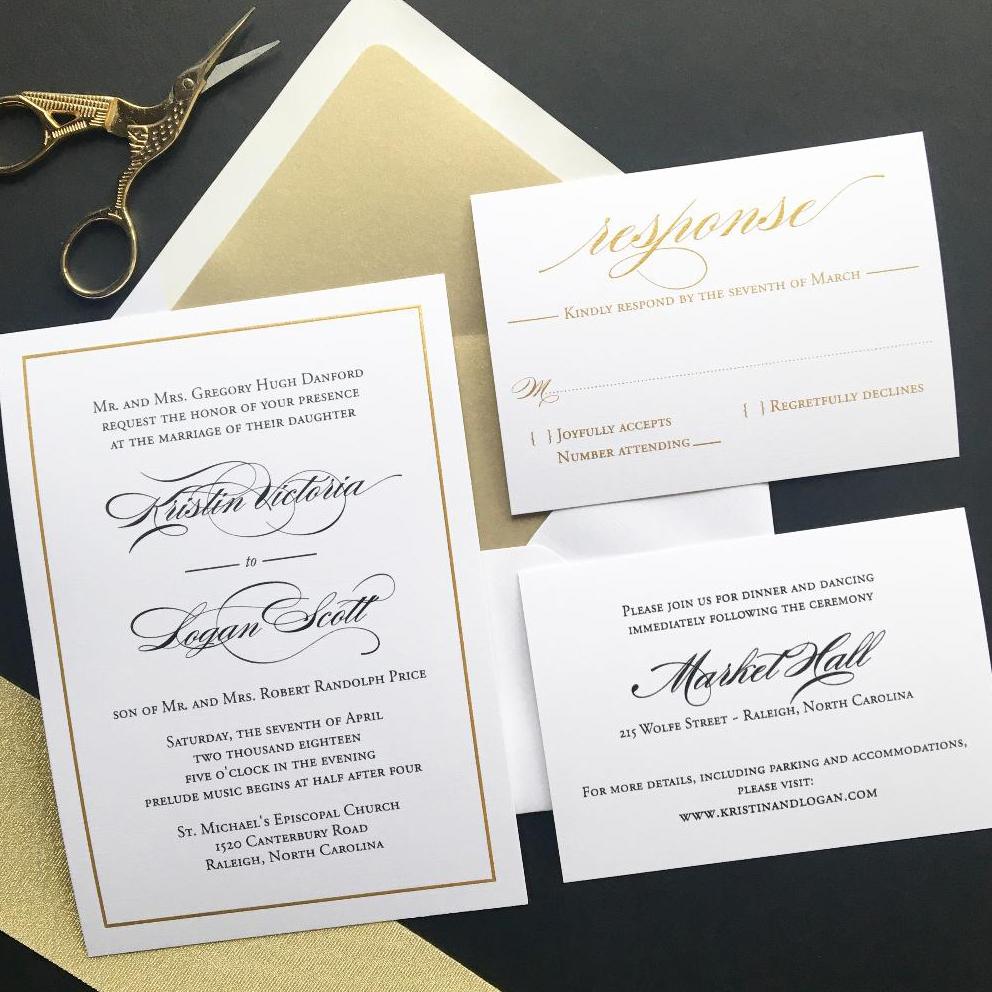 Blush Paperie Simple Elegant Black And Gold Wedding Invitations
