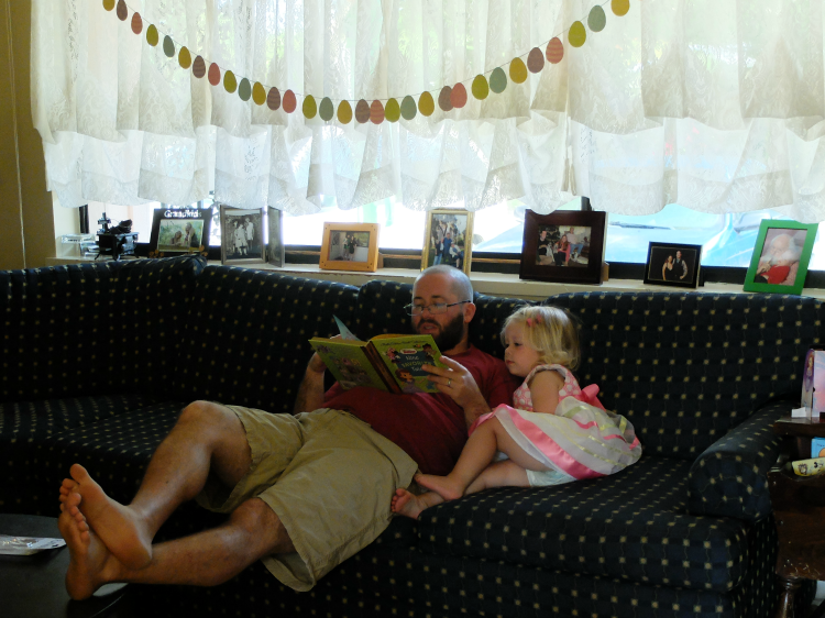 reading Easter books with dad