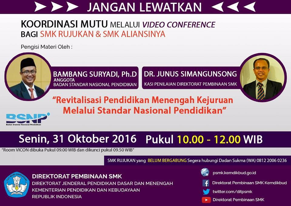 Vicon Smk Rujukan 31 Oktober 2016 Revitalisasi Pendidikan Menengah Kejuruan Komunitas Smk
