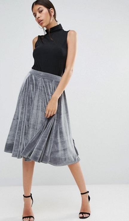 falda terciopelo gris