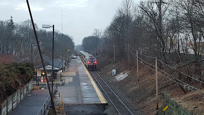 MBTA Train at Franklin/Dean Station (but not on Sat or Sun apr 22-23 due to the shuttle)