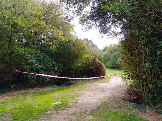 Photograph of Moffats Open Space cordoned off by the parish council Image by North Mymms News released under Creative Commons BY-NC-SA 4.0