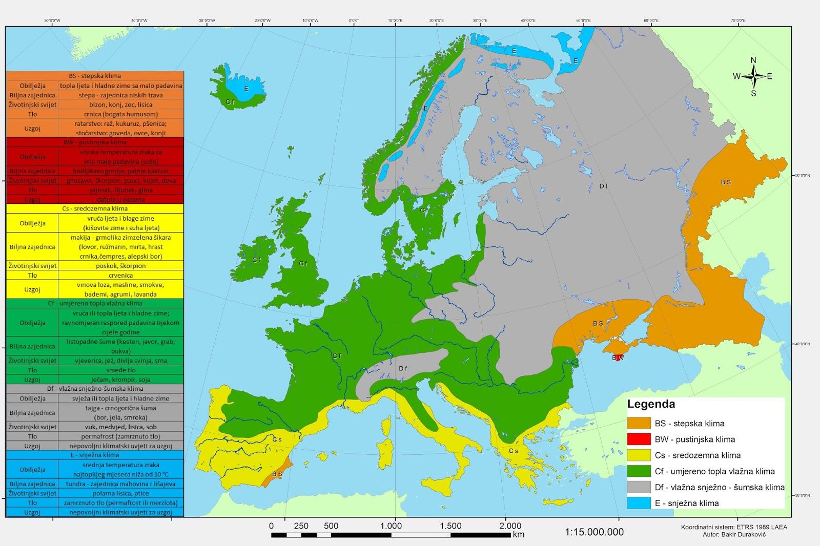 Bakir Durakovic Klimatska Klasifikacija Evrope Po Koppenu