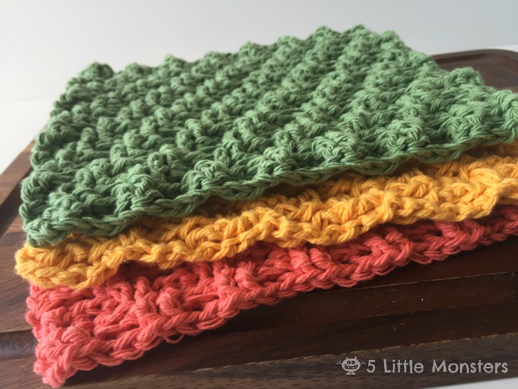 5 Little Monsters Diagonal Weave Crochet Dishcloths