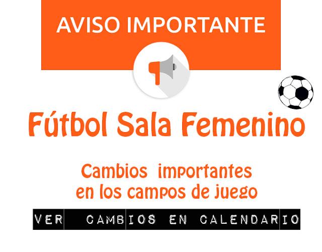 FUTBOL SALA FEMENINO:  Cambios en los campos de juego