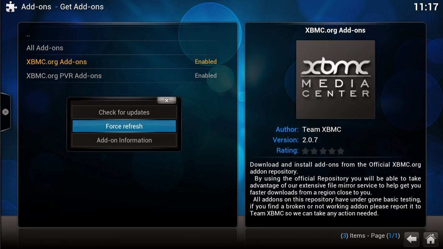 FORCE REFRESH XBMC