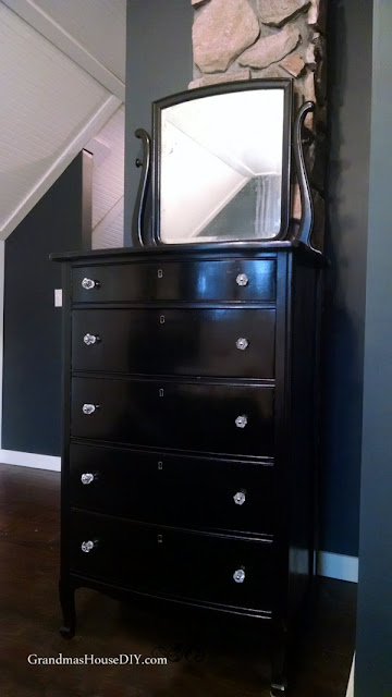 black refinished dresser