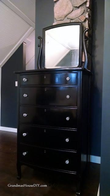 black refinished dresser