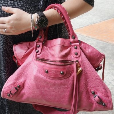 AwayFromTheBlue | JORD black Fieldcrest wood watch Balenciaga sorbet pink city bag