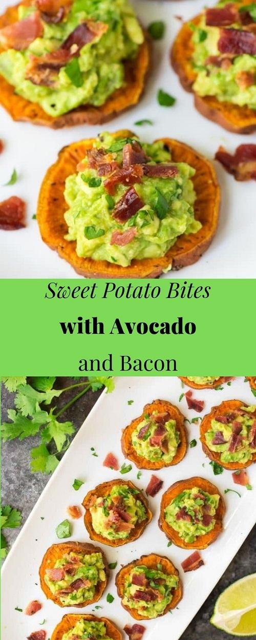 Sweet Potato Bites with Avocado and Bacon