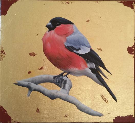 "'Bullfinch study' 9"" x 10"" oil & 24 carat gold leaf on canvas"