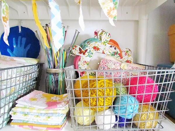 Wire baskets for craft storage