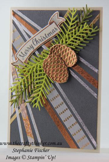 #thecraftythinker, #stampinup, #christmascard, #washitape, #cardmaking, Christmas Card, Pretty Pines, Washi Tape, Stampin' Up Australia Demonstrator, Stephanie Fischer, Sydney NSW