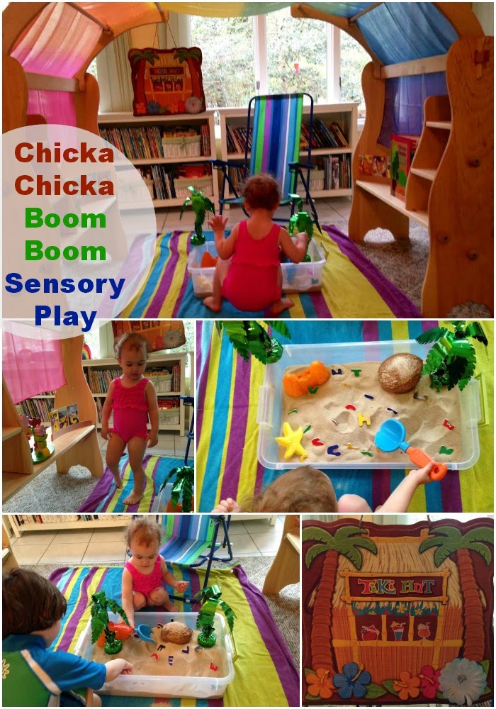 Chicka Chicka Boom Boom sensory play, alphabet sensory bin, book activities, alphabet activities, Chicka Chicka Boom Boom Activity, Sensory bins, Sensory Play #preschoolactivity #sensoryplay #alphabetactivities