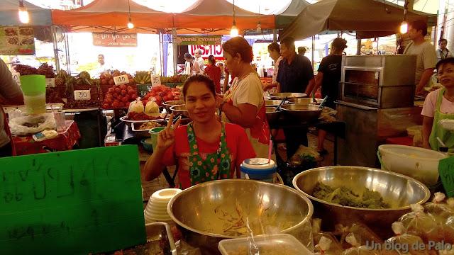 Mercado de Bangkok puesto de comida