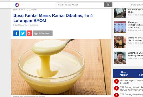 Berita dari DETIK COM tentang Susu Kental Manis yang kini sedang dalam sorotan dan menjadi viral. Gambar dari DETIK COM