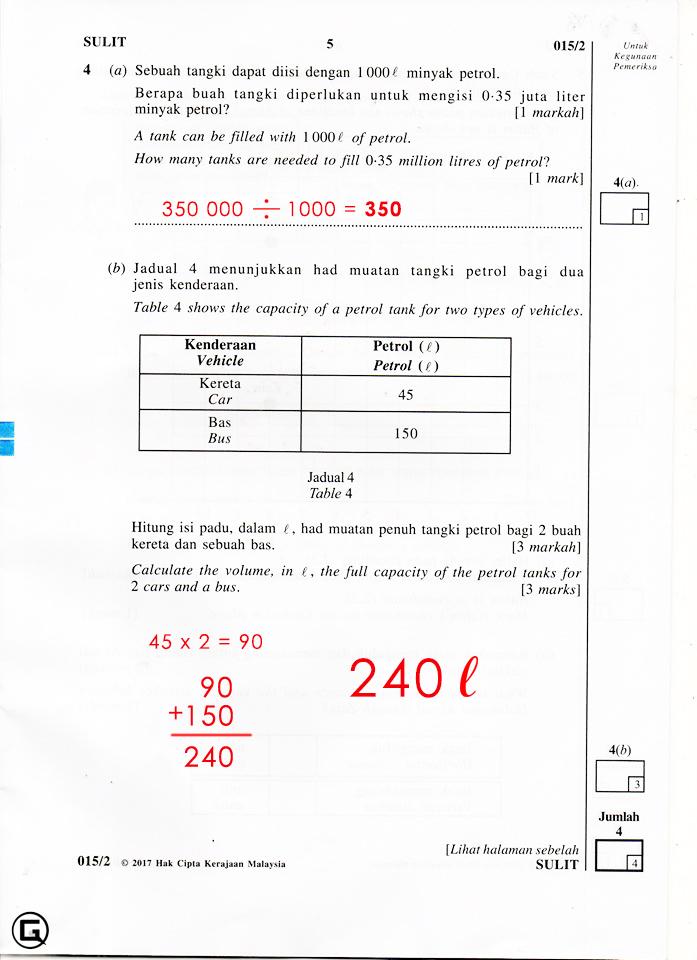Jawapan soalan UPSR Matematik Kertas 2 2017   KOLEKSI ...