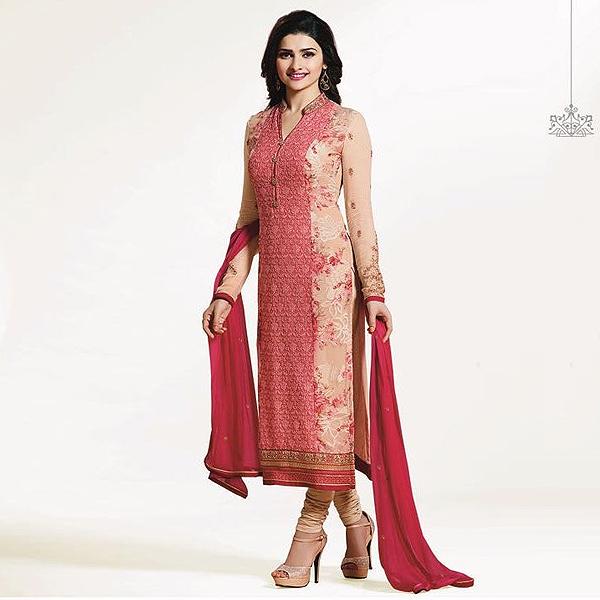 Prachi Desai Straight Cut Salwar Kameez Chikan and Brasso suit - Kaseeshonline