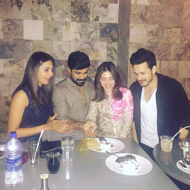 tamanna, rakul, ram charan, akhil at a party