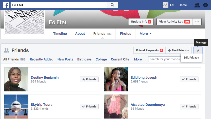 how to find your friends list on facebook