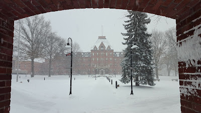summer camp is a warm thought in midwinter at a snowy Dean College campus
