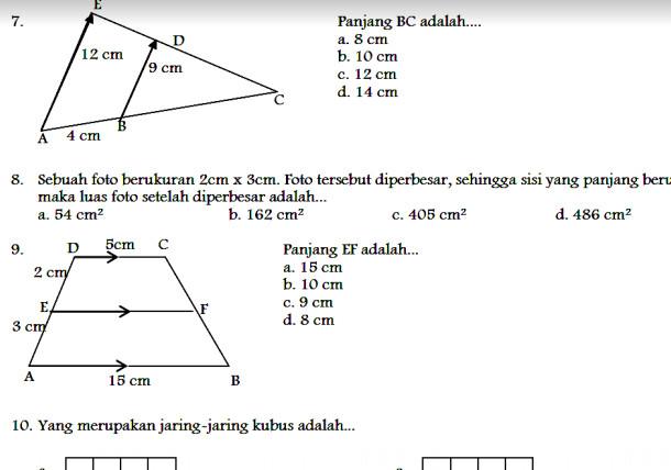 Contoh Soal UAS Matematika SMP Kelas 9 Semester 1