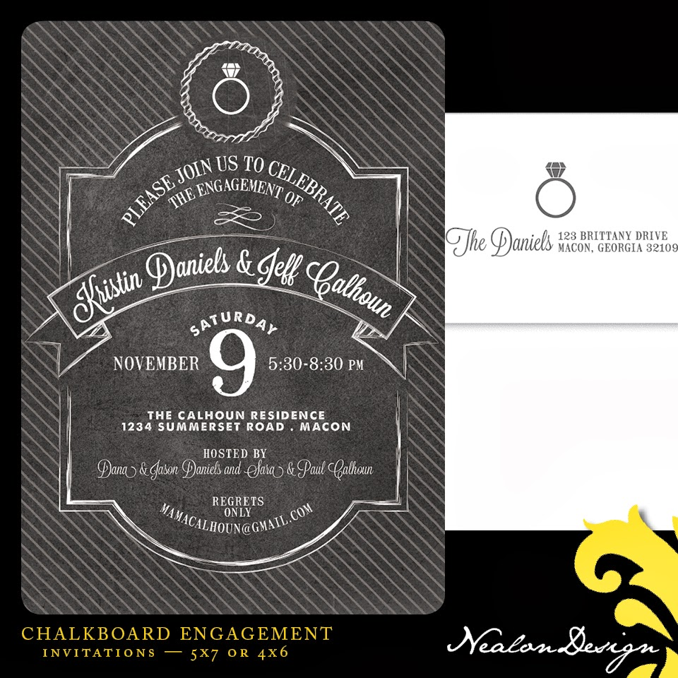 Chalkboard Engagement Party Invitation Printable By: Nealon Design: Chalkboard ENGAGEMENT Party Invitation