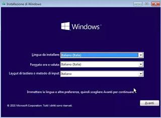 installa sistema operativo