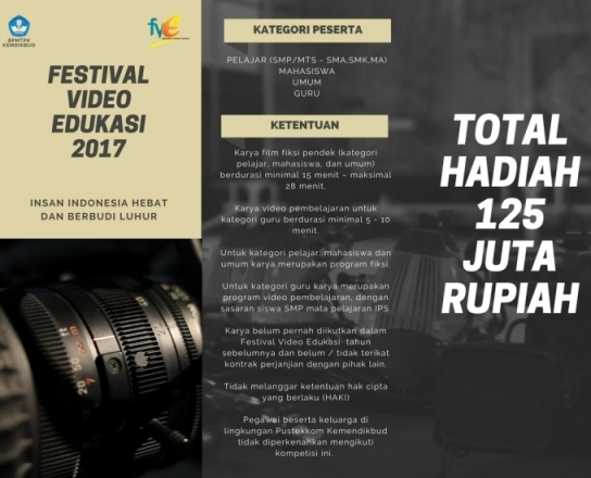 Lomba Festival Video Edukasi Fve Tahun 2017 Forum Guru Indonesia