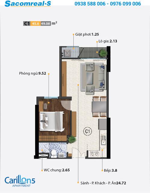 Carillon 5 - căn hộ loại C với thiết kế 1 phòng ngủ.