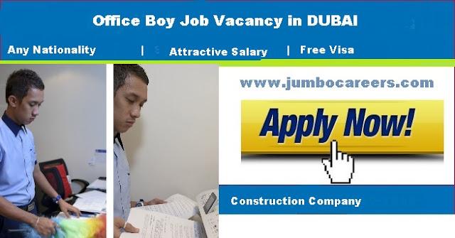 office boy job vacancy in dubai , latest office boy job in dubai