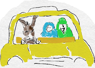 Sketch of donkey driving yellow taxi with woman (blue robe) and man (green robe) passengers.