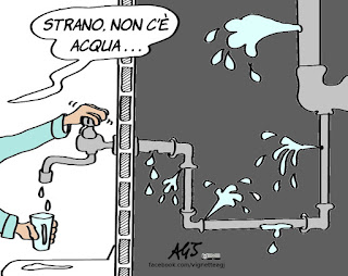 siccità, acqua, infrastrutture, perdite, municipalizzate , vignetta, satira