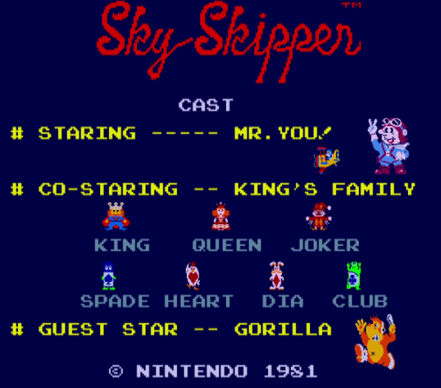 Arcade Archives Sky Skipper title screen cast Nintendo