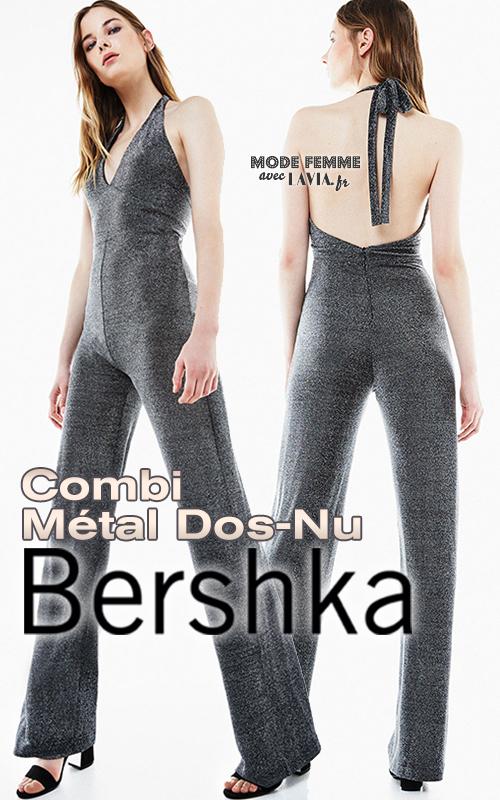 Combi-pantalon gris métallisé dos-nu BERSHKA