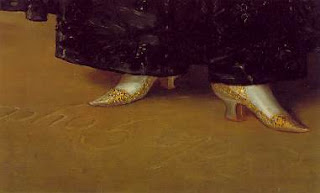 The Duchess of Alba by Goya, detail - shoes and Goya's signature
