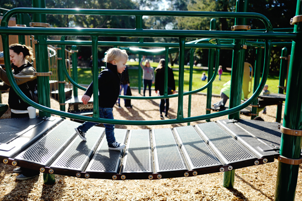 Playground bridge at Shoup Park in Los Altos