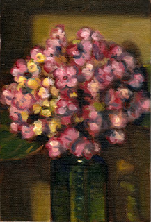 Oil painting of a pink hydrangea flower in an antique green poison bottle.