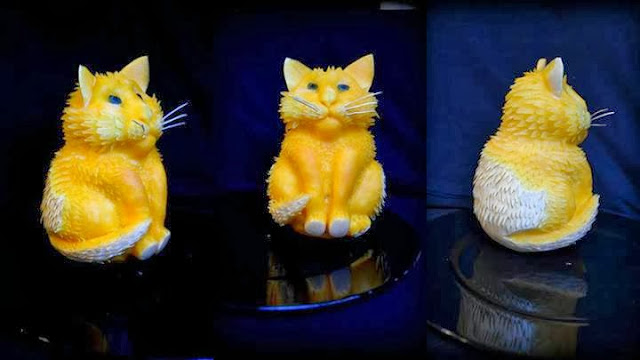 pumpkin cat sculpture