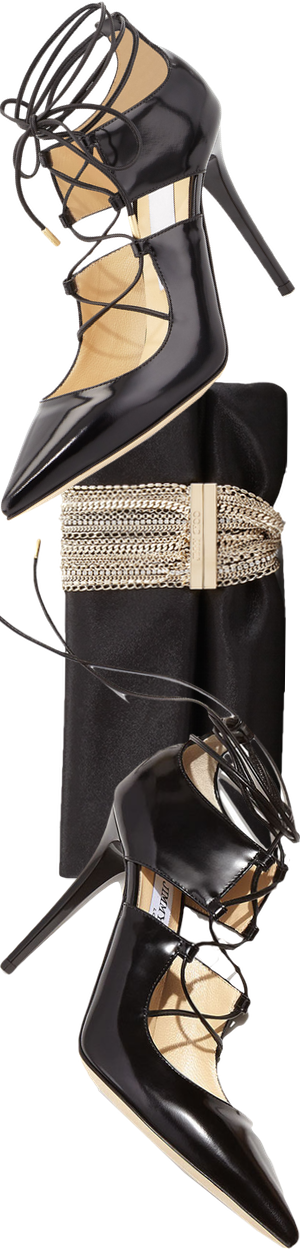 Jimmy Choo Chandra Shimmer Suede Chain Clutch Bag, Black